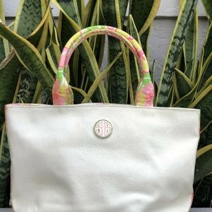 Lilly Pulitzer Floral Tote Bag Shopper Purse Canva
